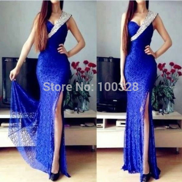 Aliexpress.com : buy custom made high quality sexy one shoulder with crystal floor length sleeveless backless slit mermaid lace prom dresses 2015 new from reliable quality evening dresses suppliers on rose wedding dress co., ltd