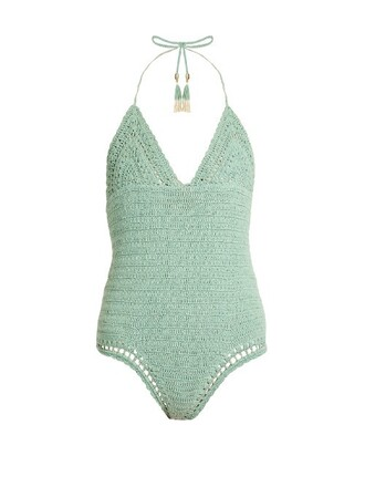 cotton crochet light green swimwear