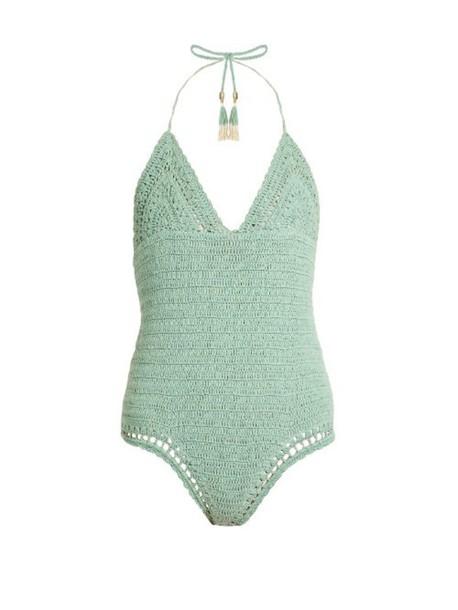 She Made Me cotton crochet light green swimwear