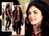 pants,pretty little liars,lucy hale,jacket,sweater,hat,aria montgomery,black cut out leggings,cut-out,black cutout,black pants
