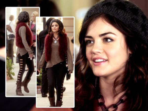 pants pretty little liars lucy hale jacket sweater hat aria montgomery black cut out leggings cut-out black cutout black pants