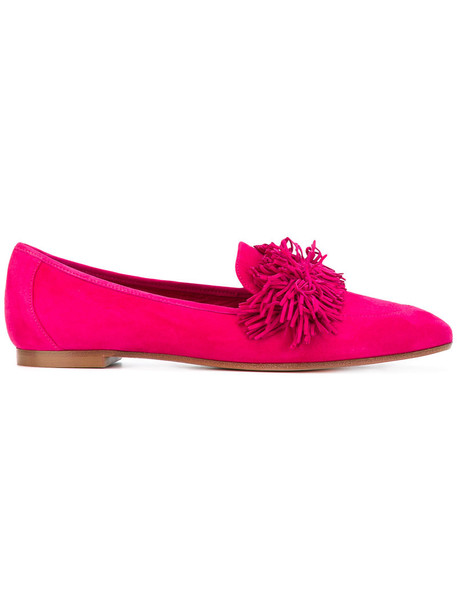 Aquazzura women loafers leather suede purple pink shoes