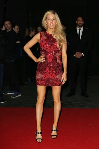 dress red dress party dress ellie goulding lace lace dress brit awards 2015