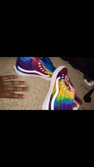 shoes sneakers tie dye colorful vans skater hipster hippie urban cool custom shoes high top sneakers