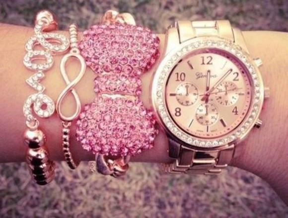 jewels gold diamonds girly watch gold watch accessories bracelets pink sparkly bowtie