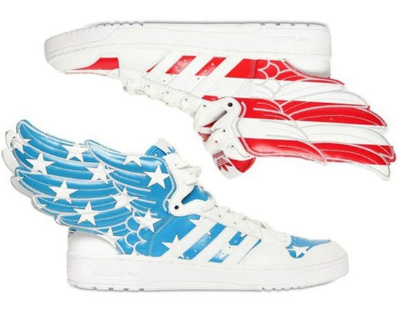 red blue shoes american flag flag print adidas wings adidas adidas jeremy scott printed shoes