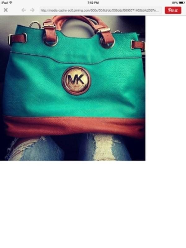 bag michael kors bag turquoise purse teal and brown purse michael kors