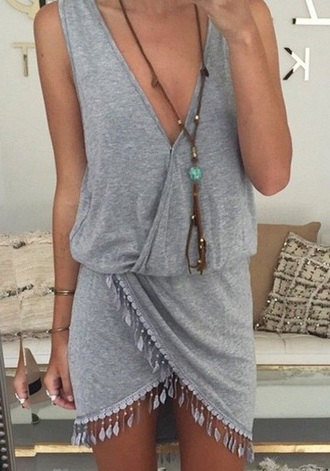 dress boho grey dress fringed dress grey fringes asymmetrical asymmetrical dress summer summer dress sexy sexy dress girly girl plunge v neck sleeveless sleeveless dress style fashion short dress short cute dress deep v dress v neck dress boho dress festival dress sundress nasty dress dream closet couture romper jumpsuit beach