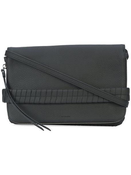 All Saints zip women clutch leather black bag