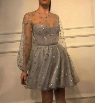 dress grey silver stars mesh tumblr prom evening outfits
