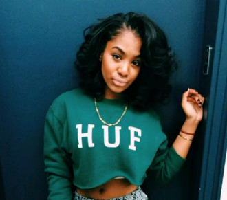 sweater crop top cropped sweater bad girls club baddies bad bitches link up huf sweatshirt green sweater huf
