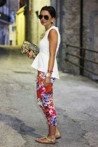 pants white top floral print pants white peplum top peplum top