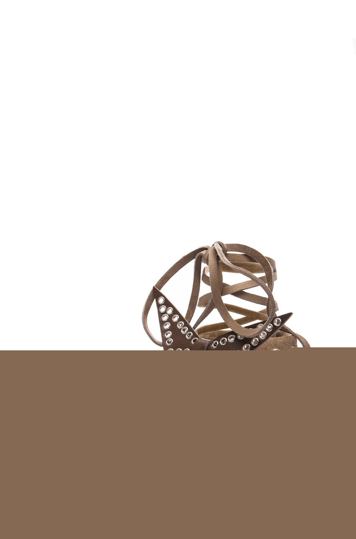 Isabel Marant | Edris Calfskin Velvet Leather Sandals in Khaki