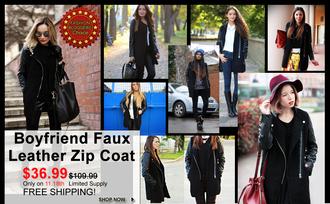coat romwe woolen black zip panel