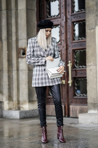 jacket tumblr blazer grey blazer plaid plaid blazer beret pants black pants leather pants black leather pants boots ankle boots bag