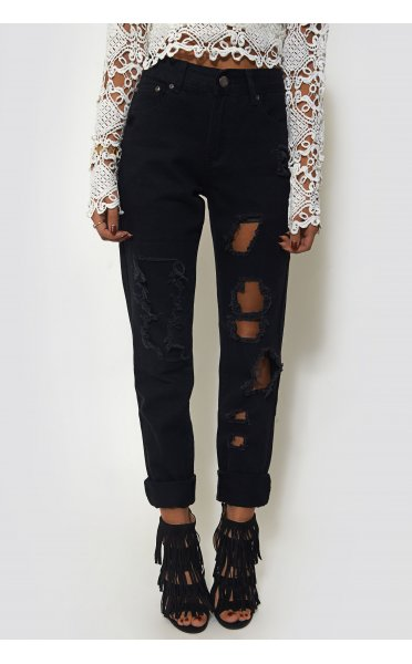Black Ripped Frayed Leg Tapered Mom Jeans - from The Fashion Bible UK