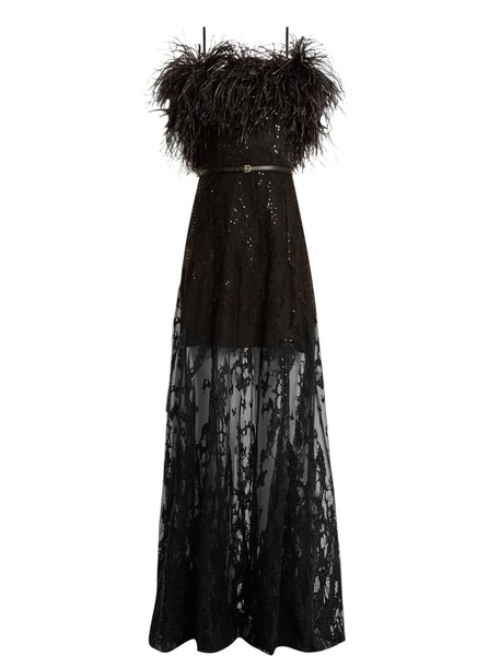 Elie Saab gown strapless embroidered black dress