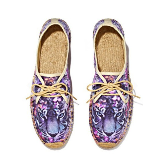 shoes sneakers purple tiger print flats back to school