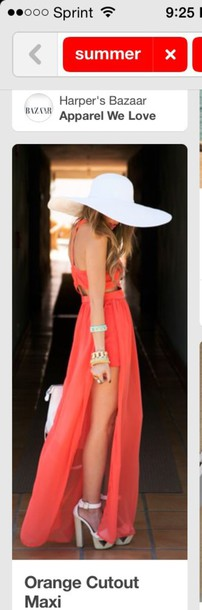 dress orange dress orange style summer dress summer beach dress beach coral dress coral bright colorful backless dress strappy dress white high heels sandals sexy dress maxi dress maxi maxi skirt slit skirt slit dress high low dress hat cute dress flowy dress spring spring outfits spring break chiffon