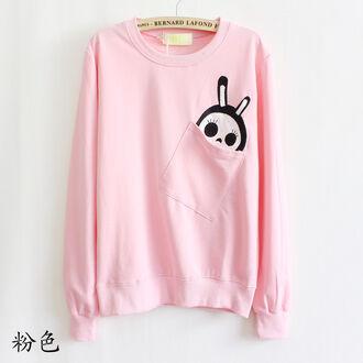sweater pink sweater pastel goth pastel skeleton bunny