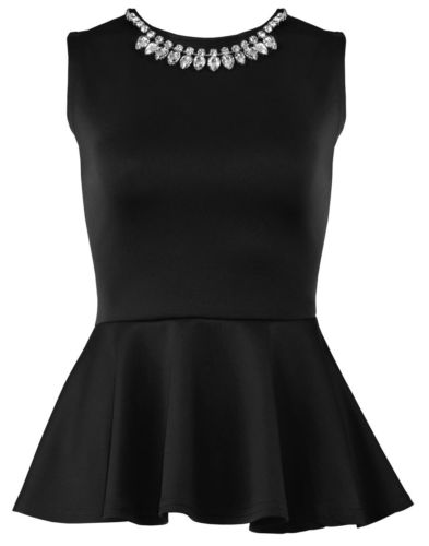 WOMENS SLEEVELSS BODYCON SKATER TOP DRESS LADIES NECKLACE PEPLUM PARTY TOP | eBay