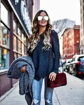 bag,tumblr,blue sweater,coat,grey coat,jeans,denim,blue jeans,ripped jeans,velvet,velvet bag,chain,chanel bag,chanel,sunglasses,aviator sunglasses,mirrored sunglasses,designer bag