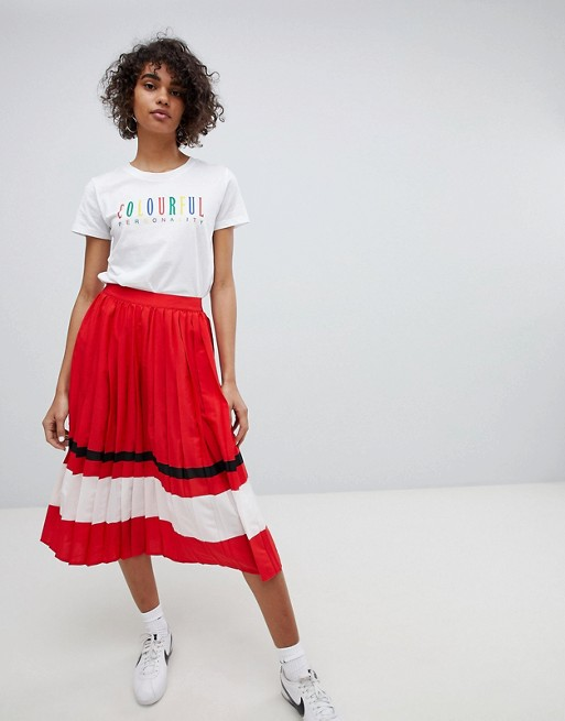 Neon Rose Pleated Midi Skirt With Sports Stripe at asos.com