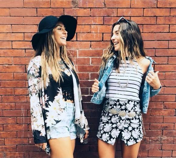 ombre denim skirt floral skirt floral hipster soho style sochic stripes Belt
