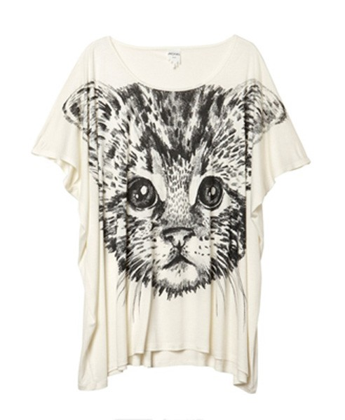 Contrast Cat Print Loose T-shirt