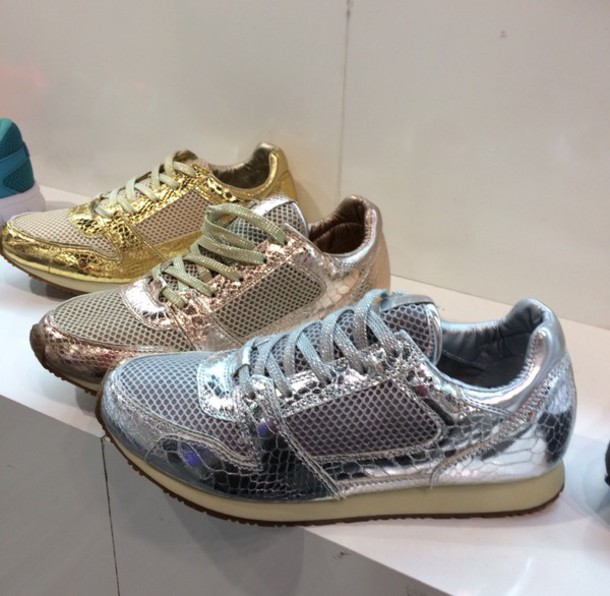 shoes silver copper gold sneakerss