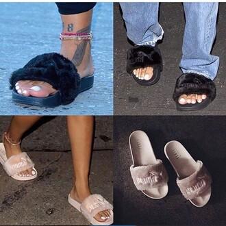 shoes puma nude black slippers rihanna pumas rihanna fenty puma fenty fenty x puma