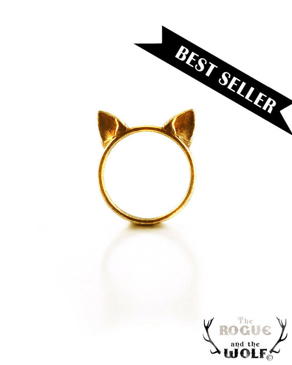 Gold cat ears ring cute kawaii cat ring neko by therogueandthewolf