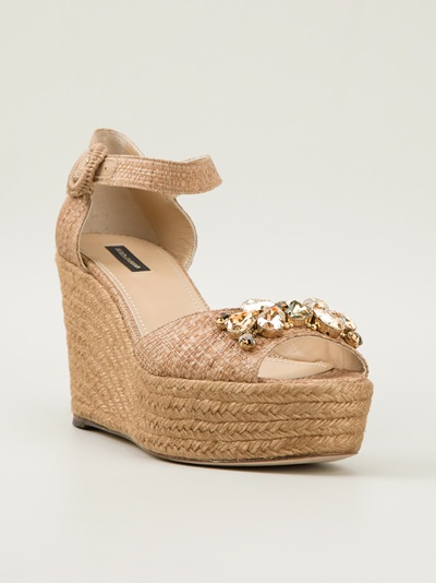 Dolce & Gabbana Embellished Wedge Sandals - Julian Fashion - Farfetch.com