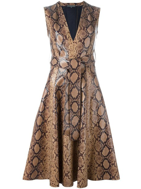 dress print dress women python cotton print brown