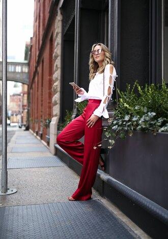memorandum blogger shirt pants shoes sunglasses jewels bag red pants white blouse spring outfits
