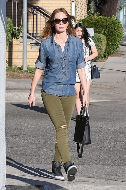 shirt denim denim shirt emily blunt