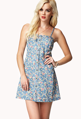 Floral Denim Dress | FOREVER21 - 2042318240