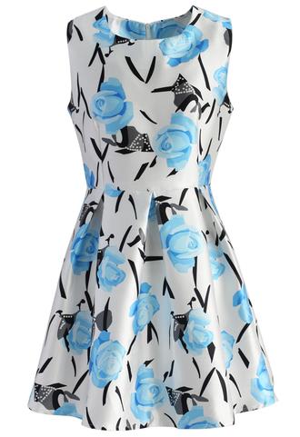 dress rose dress flare dress party rose floral blue