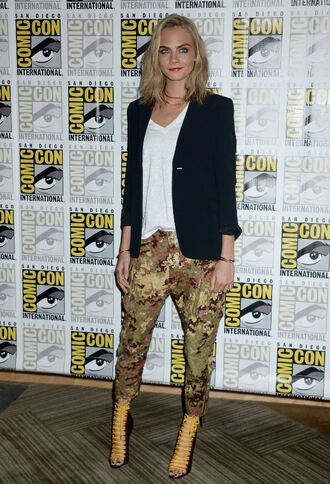 top cara delevingne pants shoes sandal heels blazer summer outfits summer bracelets