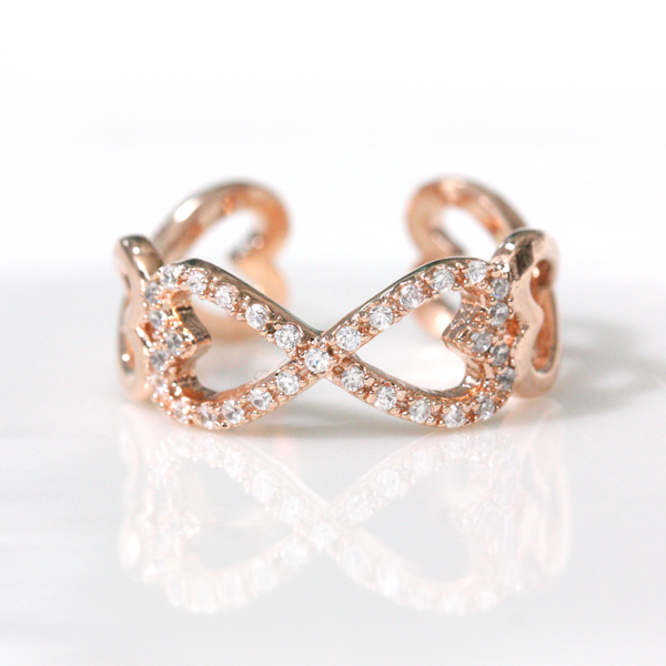 Infinity And Heart Adjustable Ring In Pink Gold on Luulla