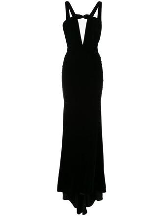 dress women black silk velvet