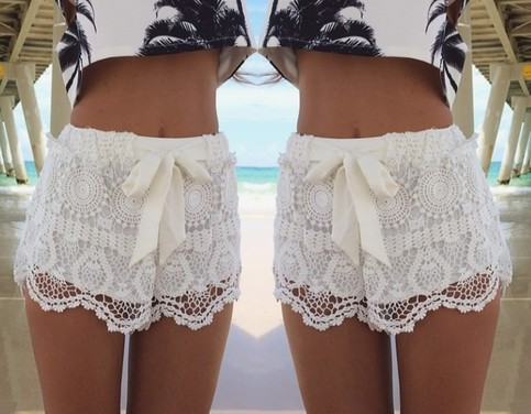 Floral lace knicker shorts pants with bow
