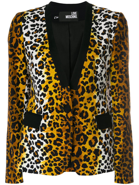 blazer women spandex cotton print brown leopard print jacket