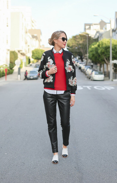 the classy cubicle blogger bomber jacket floral leather pants red sweater jacket sweater shirt pants shoes sunglasses