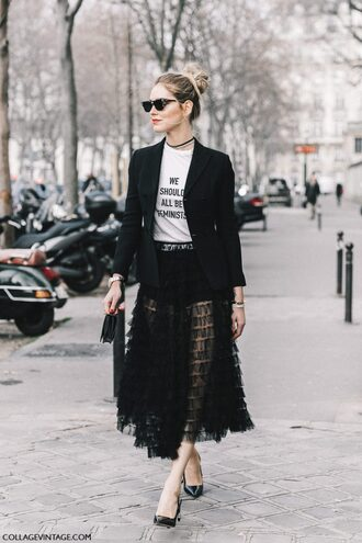 skirt tumblr fashion week 2017 streetstyle midi skirt black skirt see through lace skirt lace black lace t-shirt white t-shirt quote on it black blazer blazer pumps pointed toe pumps high heel pumps sunglasses chiara ferragni top blogger lifestyle feminist tshirt jacket