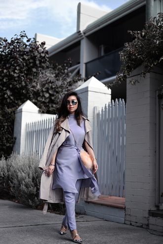 pale division blogger long coat trench coat lilac