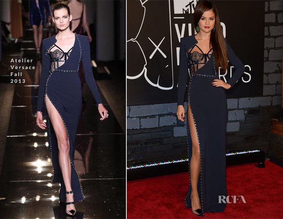 selena gomez dress mtv vma video music awards vma's 2013 '13 versace fall red carpet beautiful