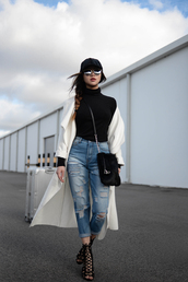 pale division,blogger,bag,shoes,sweater,t-shirt,belt,coat,jeans,black turtleneck top,black top,turtleneck,duster coat,white coat,cuffed jeans,ripped jeans,blue jeans,furry bag,swag,lace up heels,white long coat