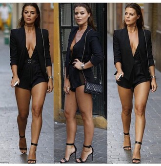 romper jacket black jacket blazer black blazer spring jacket one piece outfit outfit idea summer outfits cute outfits date outfit spring outfits party outfits black romper strappy heels ankle strap heels heels black shoes black high heels high heels black heels sexy shoes shoes black bag bag purse choker necklace necklace jewels absolutemarket black choker jewelry