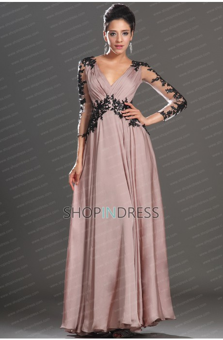 Neck floor length chiffon blush prom dress with appliques npd1445 sale at shopindress.com